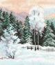 Зимняя пора. Канва с рисунком для вышивания мулине 20х22 см